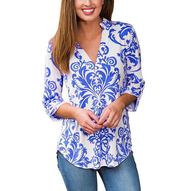 Zomer Herfst Blouse Dames Shirt Print Bloemen Lange mouw V-hals Casual Dames Tops T-shirts Blusa 3XL Plus Maat WS1160U