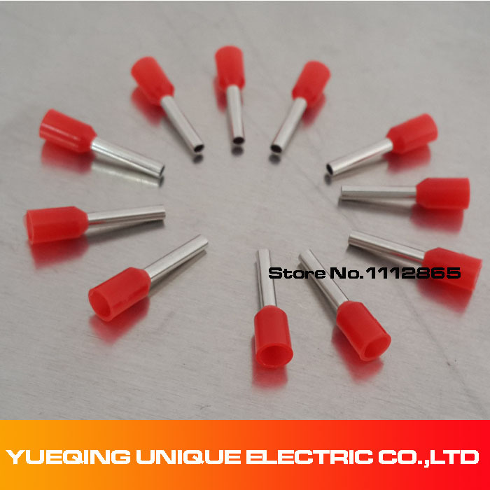 Free Shipping Red E1010 PVC Insulated Wire Ferrules For 1.0mm2, 18 ...