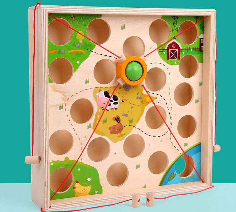 Creative pull ball table game children wooden maze kindergarten early education intellectual strength parent child toy