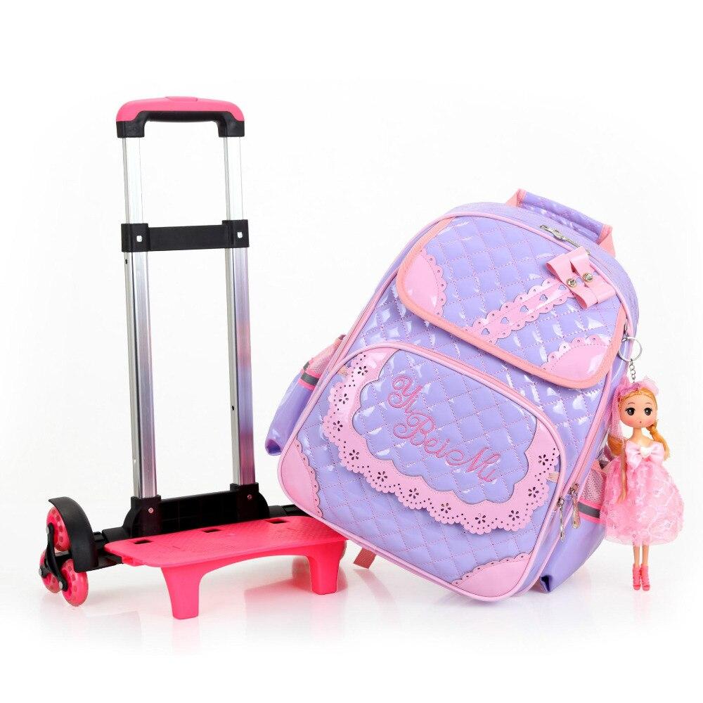 Venta caliente niñas princesa estilo 3 ruedas mochila escuela bolsa set 2019 nuevo impermeable PU cuero carretilla escuela bolso chica mochila - 6