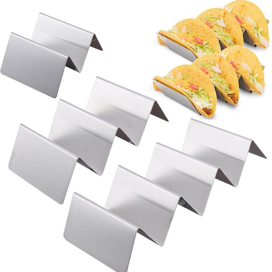 Wave Shape Stainless Steel Taco Holder Display Holders Kitchen Food Rack Shell JUNE12