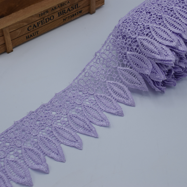 1 yard crochet embroidery lace trim ribbon leaf 90mm wide DIY embroidery African style decorative embroidery applique