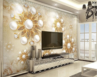 Beibehang Stylish Atmosphere Luxury Gold European Style Pearl Lace Stereoscopic Wallpaper TV Background Wall Papel De