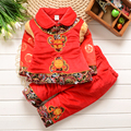 Long Sleeve Winter Thickening Turn-Down Collar Chinese Traditional Tang Suits Happy New Year Clothing Costume for 1-3 Years Baby