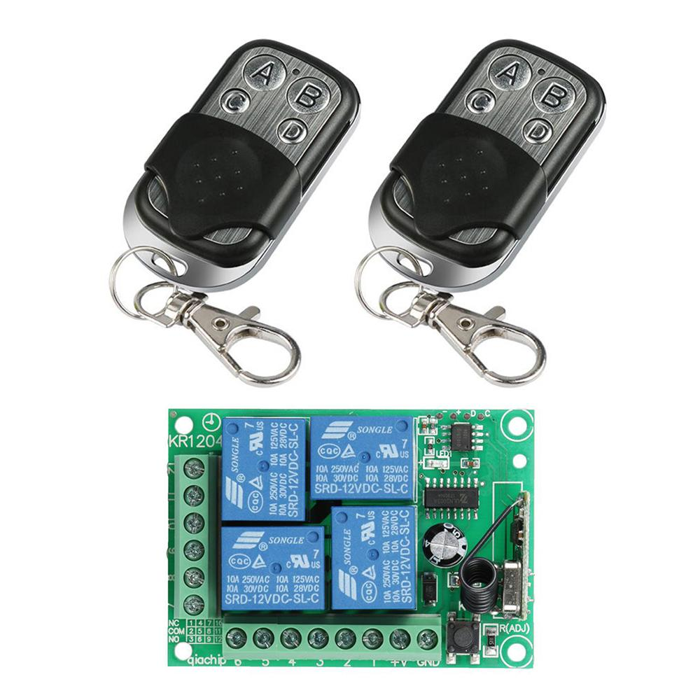 433MHz RF 4 Channel Remote Control Transmitter Learning Code 1527 And DC 12V Relay Receiver Module DIY Switch Garage Door Opener