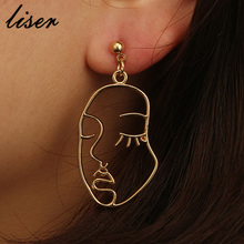 f7ddf0666 Abstract Hollow Out Face Dangle Earrings Unique Design Girls Statement Long Drop  Earrings Jewelry Earrings Boucles