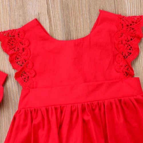 Mới Arriavl Giáng Sinh Xù Ren Đỏ Romper Áo Liền Váy Đầm Bé Gái Em Gái Công Chúa Trẻ Em Quà Giáng ĐẦM DỰ TIỆC Cotton Bộ Đồ Sơ Sinh