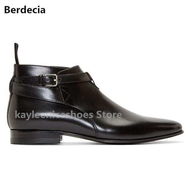Laarzen Zwarte Luxe Lederen Mannen Puntschoen Berdecia Mode QBtxohCdsr