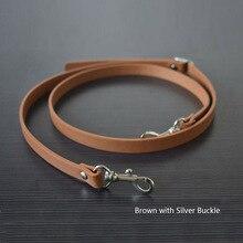 135CM Adjustable Leather Strap Handbag Shoulder Bag Belts Handmade Replacement Silver Buckle Parts Accessories for Girl Tan