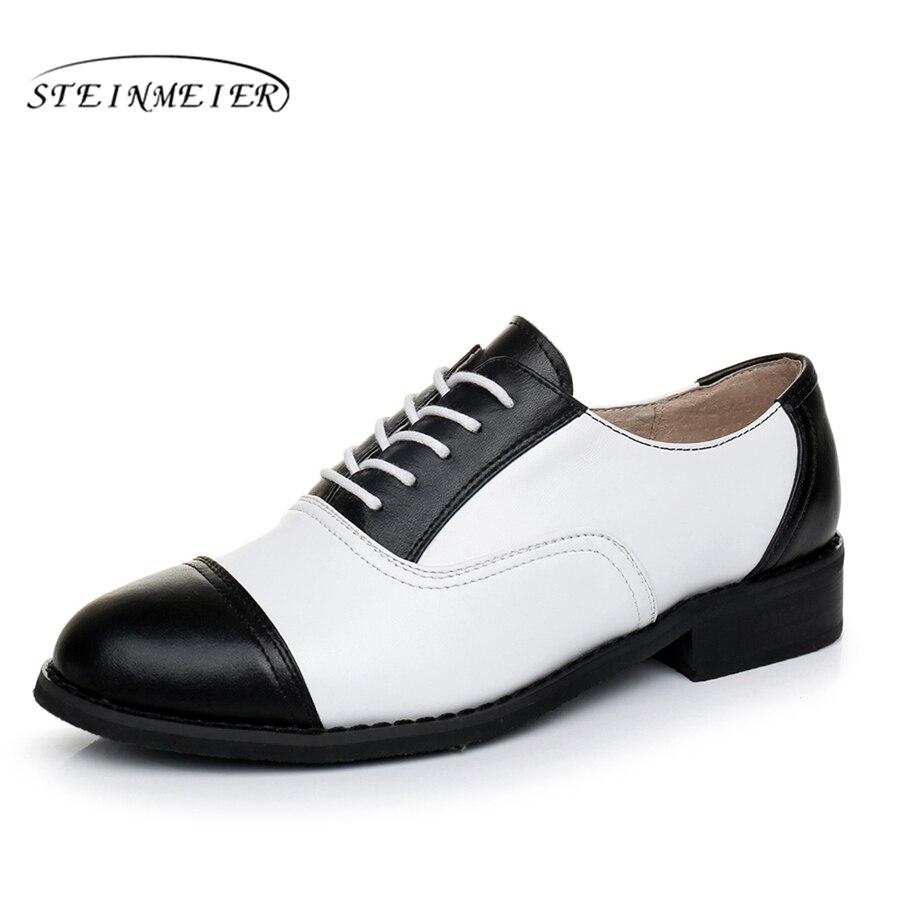 Genuine leather brogues designer vintage flats oxford shoes big US 11 handmade black white oxford shoes