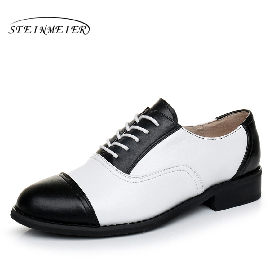 Genuine leather brogues designer vintage flats oxford shoes big US 11 handmade black white oxford shoes for women 2018 spring все цены