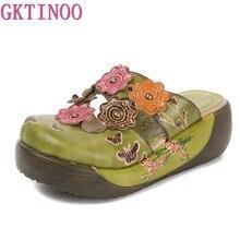 18ba945796 GKTINOO Flor Chinelos Sapatos De Couro Genuíno Handmade Desliza Flip Flop  Na Plataforma Chinelos Tamancos Para As Mulheres Mulhe.