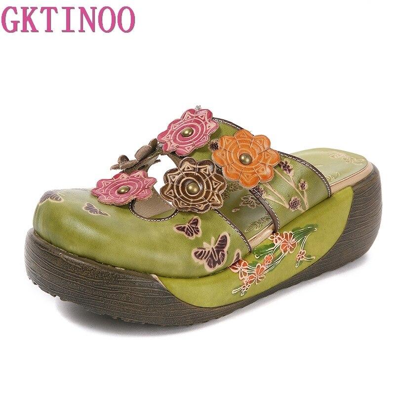 GKTINOO fleur pantoufles chaussures en cuir véritable à la main diapositives Flip Flop sur la plate-forme sabots pour femmes femme pantoufles
