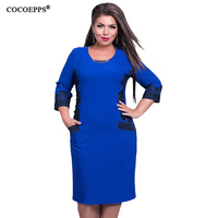 Fashionable Office Women Dresses Large Size Casual O Neck Long Sleeve Bodycon Dress 2016 Plus Size