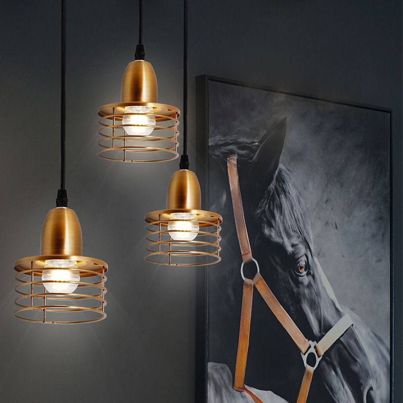 Industrial Retro Style Pendant Lights Gold Circle Pendant Lamp Kitchen Island Lighting Fixture Vintage Dining Room Drop Light