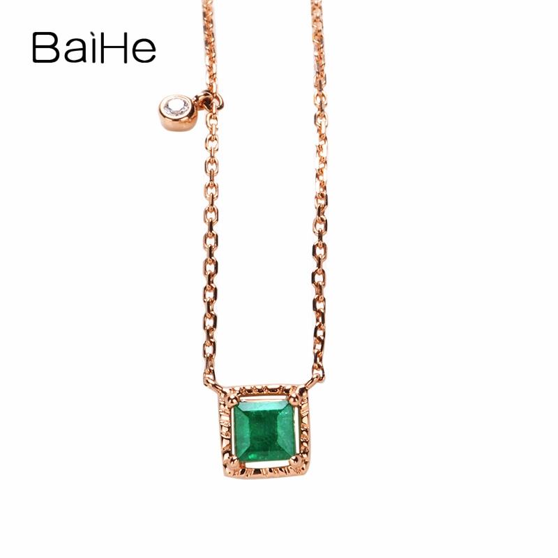 BAIHE Solid 18K Rose Gold Certified 3.5mm*3.5mm Flawless 100% Genuine Natural Emerald Wedding Women Trendy Jewelry Necklaces