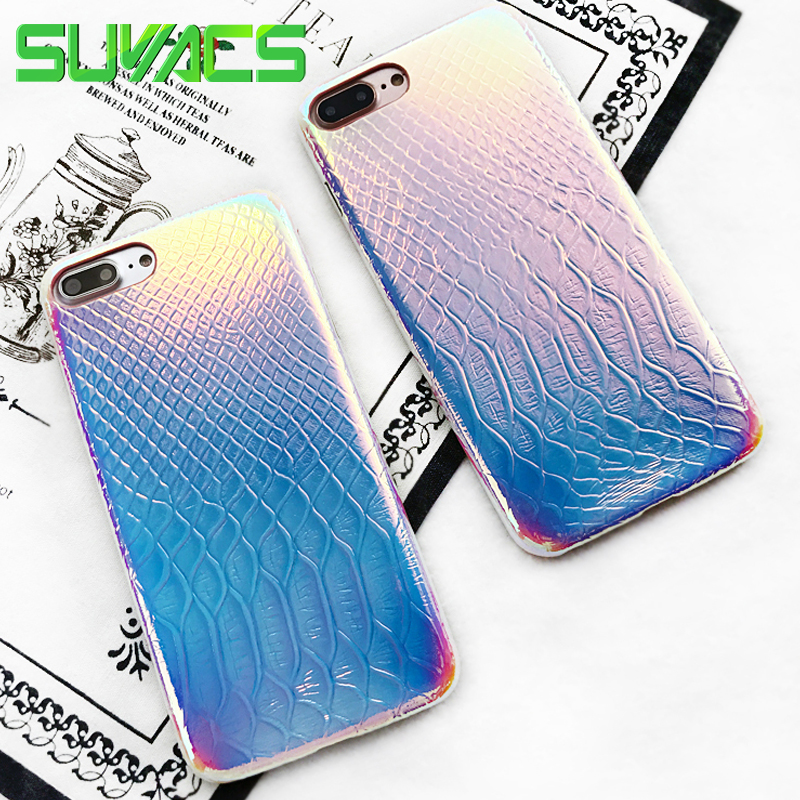 SUYACS Summer BlingBling Laser Gradient Crocodile Pattern Soft TPU Phone Case For iPhone 7 8 X 6 6S Plus Shell Coque Capa Cover