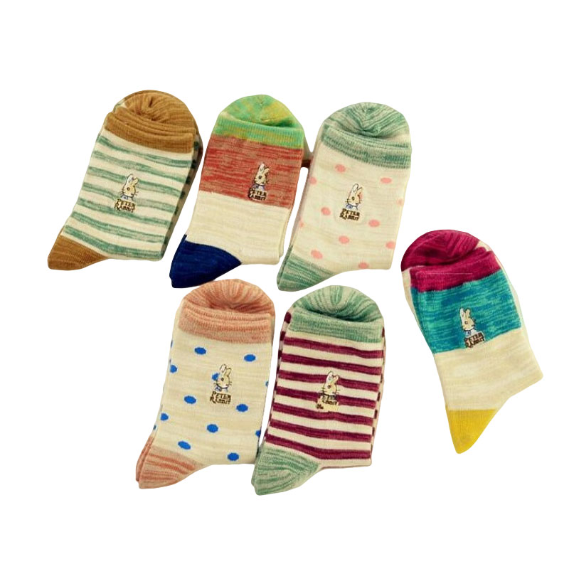2017 Japanese Style harajuku Fashion Polka Dot Print   Sock   Women Kawaii Peter Rabbit Skarpetki Calzini Stripe   Socks   Dots Cute