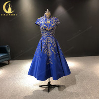 JIALINZEYI Real Image Luxurious Luxurious Short Sleeves Royal Blue Gold Beads Ankle Length Formal Dresses Evening Dresses 2019