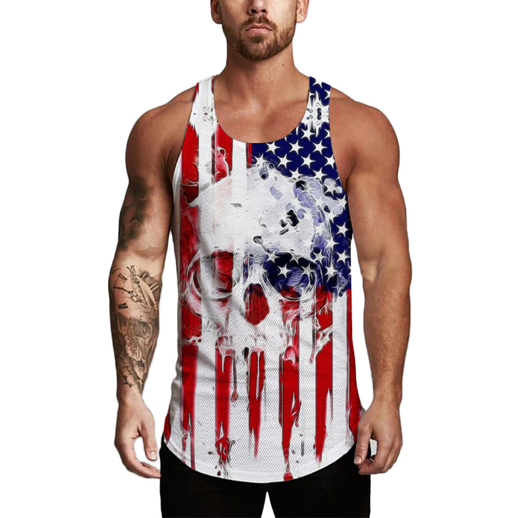 Clothes Men's Sleeveless   Tank     TOP   Independence Day Printing Mesh Breathable Bodybuilding Sport Vest