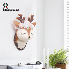 Roogo Deer Head Hooks Ceramic Decorative hangers Home Living Room Creative Housekeeper For Keys Large Wall-Mounted Key Holder