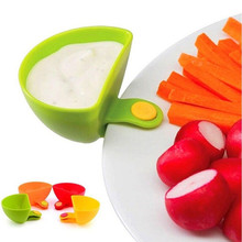 New Sale!!! 2 PCS/Set Assorted Salad Sauce Ketchup Dip Clip Cup Bowl Saucer Tableware Kitchen Free Shipping