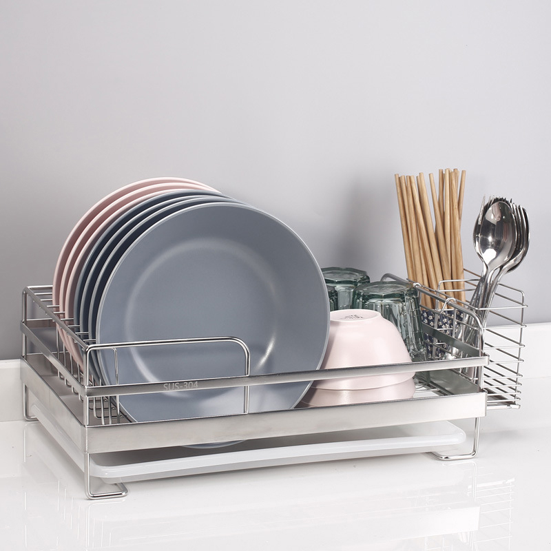 Dish Rack Chrome Stainless Plate Dish Cutlery Cup Rack With Tray Steel Drain Bowl Rack Kitchen Shelf Basket
