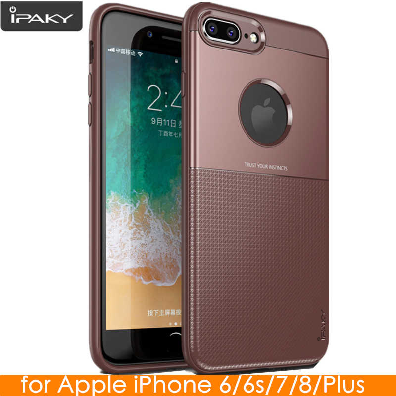 Para o iphone 8 Plus 8 IPAKY Caso Original para o iphone 6 6 s Plus PC de Silicone Híbrido Proteger A Armadura Soft Case para iPhone 7 Plus 7 Caso