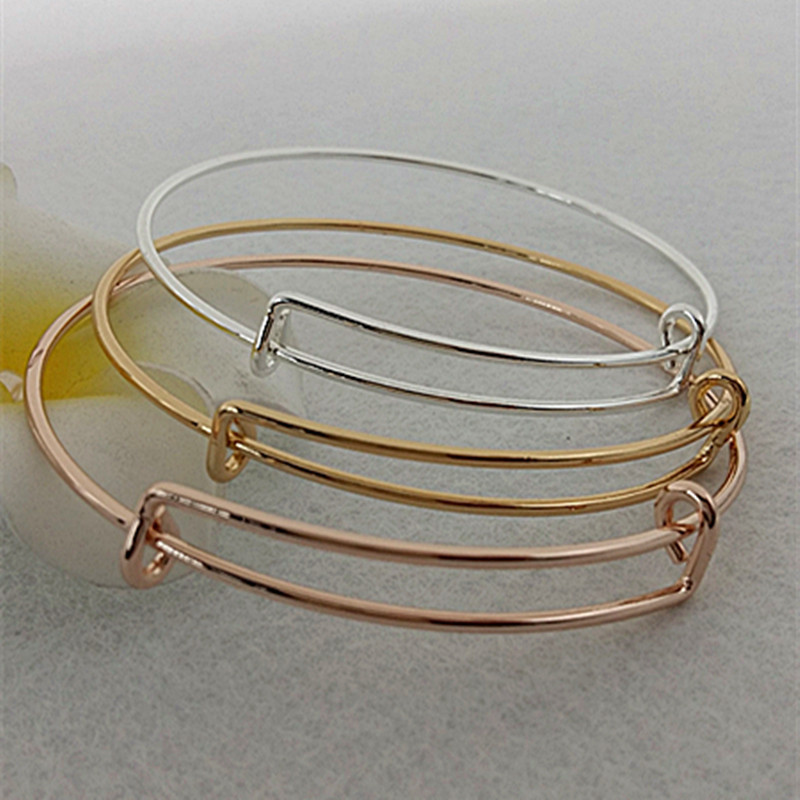 High Quality Fashion Women Jewelry 1 PC 65mm Adjustable Bracelets Silver Golden Rose Golden Bangles For Women High-grade plating