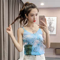 Camis Top Summer Women's Knitting Flower Sleeveless T-shirts Patched Embroideried Floral Mesh Tank Tops For Female