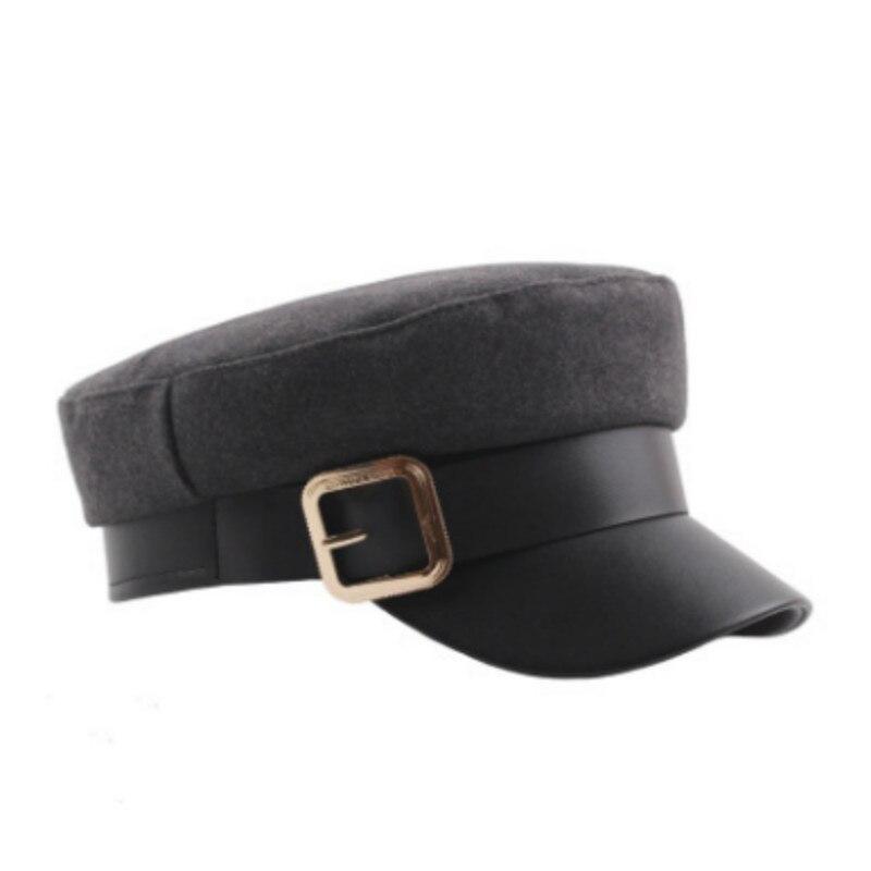 Düz Askeri şapka Için Kadın Pamuk Pu Düz üst Beyzbol şapkası Kadın