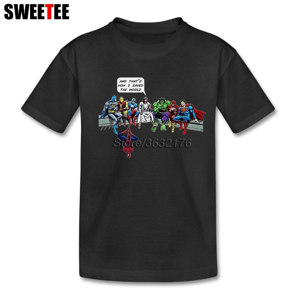 Heroes Captain America Super Heroes Spiderman Jesus The Hulk Tee shirt Girl Short Sleeve 4T-8T T Shirts Tee Clothing For Boy