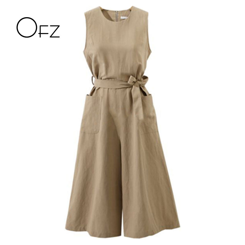 New 2018 Summer European Style Women Jumpsuits Loose Sleeveless Tie Bow Female Rompers Vintage Cotton Linen Plus Size Jumpsuit ...