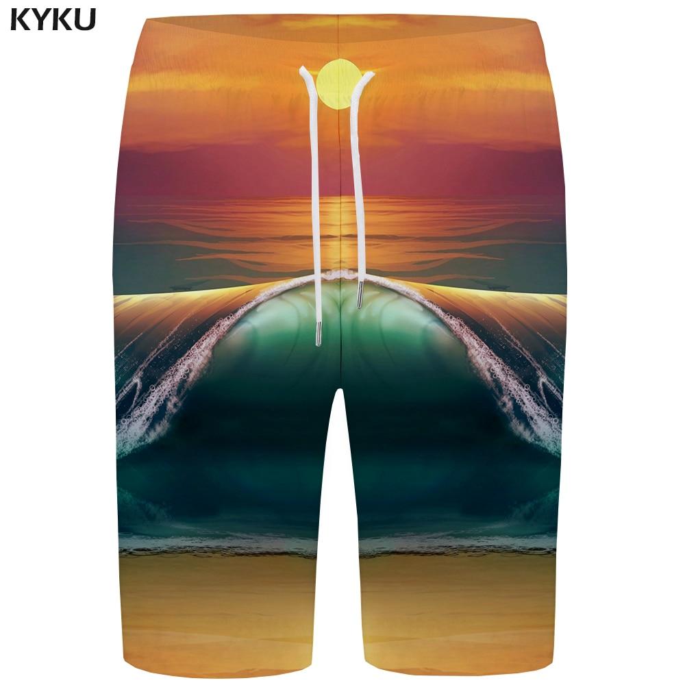 KYKU Wave   Board     Shorts   Men Moon   Short   Pants Phantom Colorful Print   Shorts   Beach 3d Gothic Hip Hop Mens   Shorts   Casual Summer New