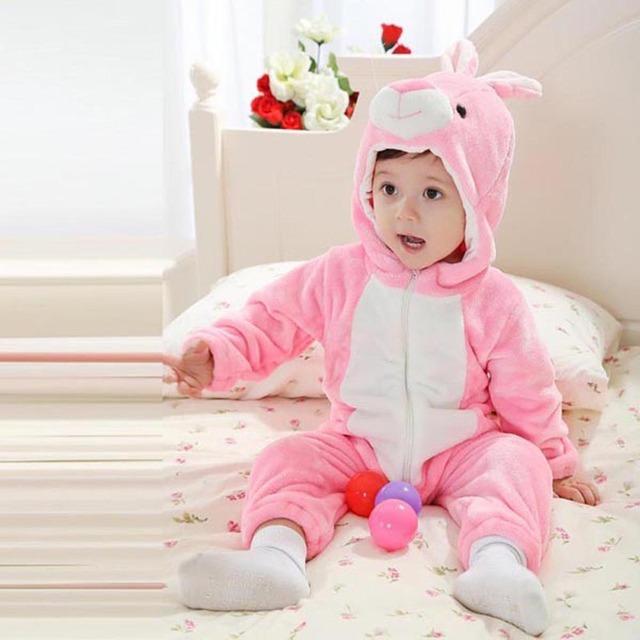 Criança traje Animal do bebê Romper infantil com capuz flanela infantil Romper bebê macacão roupas recém-nascido Romper