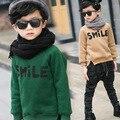 2016 Новая Зимняя детская одежда высокого качества мода стиль мальчиков sweatershirts с письмо улыбка печати A267