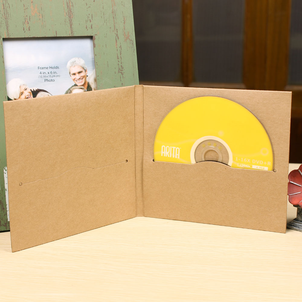 Wholesale 100Pcs 13.5*14.5cm High Quality Disc CD Sleeve 250gsm Thick Kraft Paper Party Bag Cover CD DVD Envelopes Package Box
