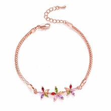 FYM Brand New Luxury Gold Color Plant Bracelet with Colorful AAA Zircon Crystal Bracelet Femme Bracelets for Women Wedding Party fym new fashion 6 colors flower shape bracelet zircon crystal bohemia bracelet femme bracelets for women wedding party