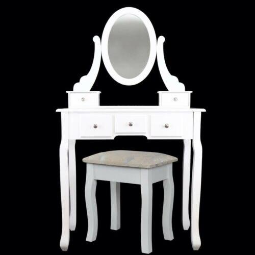 Современный туалетный столик с зеркальным табуретом и 5 ящиками из МДФ - 2