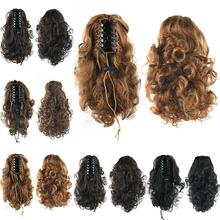Hairpiece Curly Ponytails with Clip Synthetic Hair Ponytail Hair Extensions Claw Hair Bun