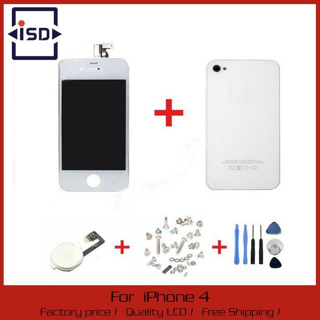 Branco Touch Screen + LCD digitador Display + vidro voltar tampa da caixa + Home Button peça de reposição para o iPhone 4 G & Screw ferramentas
