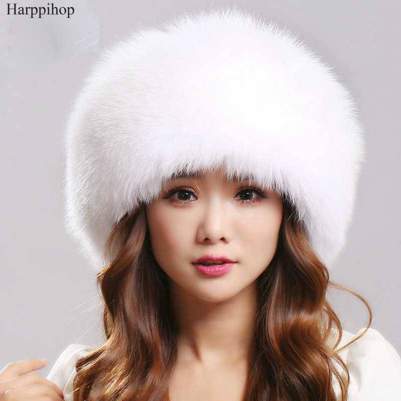 Winter Luxury Women Fox Fur Hats Female Genuine Leather Top popular  Hats Large Fur Warm Caps Many Colors silver fox hats