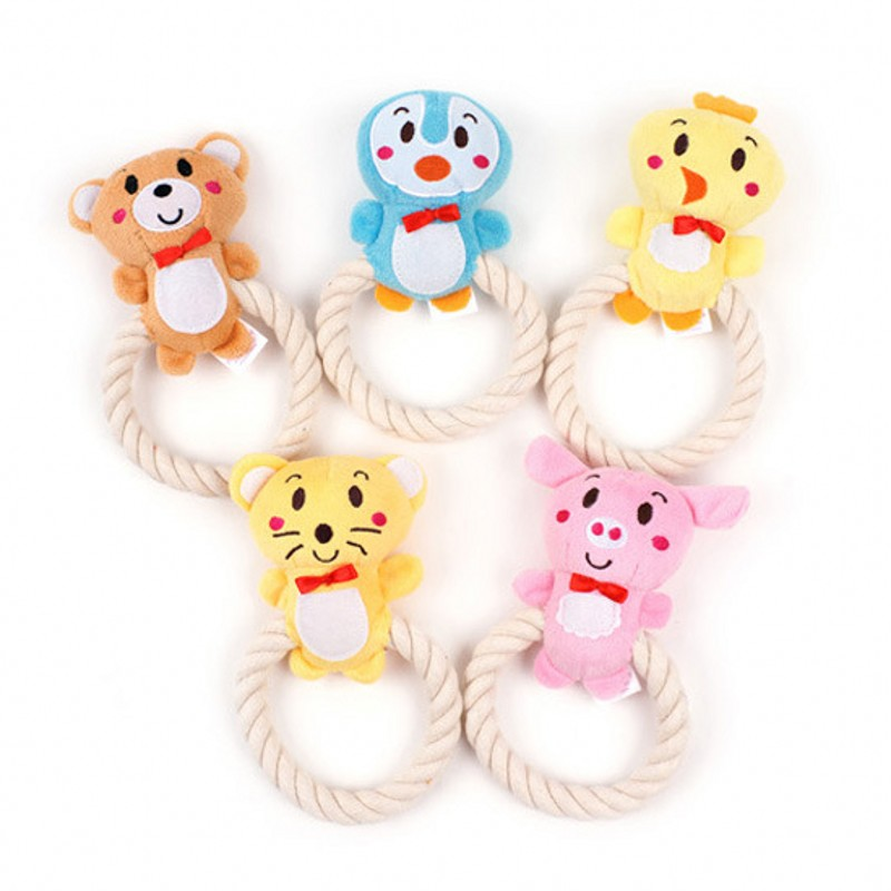 Sea Amoy Technology Co., Ltd. 2016 New Pet Dog Toys Cotton Braided Rope Chew Squeaker Squeaky Plush Sound Tug Knot Molar Interaction Toy 16*9CM