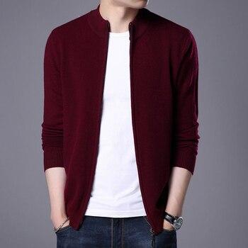 Turtleneck Cardigan Men 2019 New Winter Thick Warm Sweatercoat Mens Merino Wool Cardigans Zipper Cashmere Sweaters