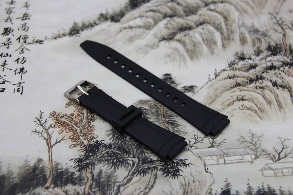 High quality Black Watchband silicone rubber bracelet for font b Casio b font AW 80 font