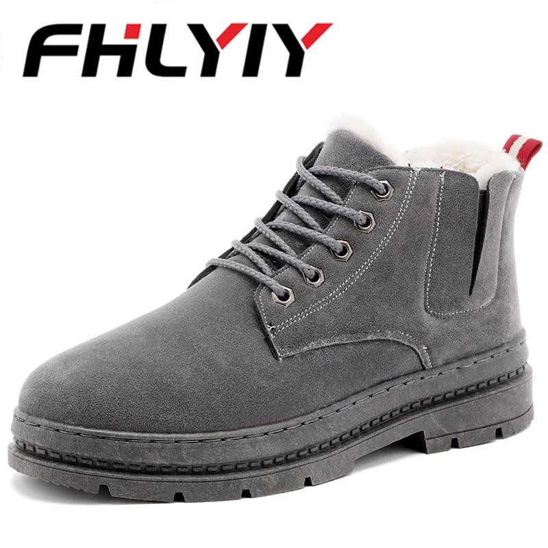 Cheville Hommes gray Qualité Chaud Cuir Haute Suédé Chaussures En De Fourrure Neige Coton Black White black Peluche Travail khaki Bottes Plein Air D'hiver w0q1Atnr0