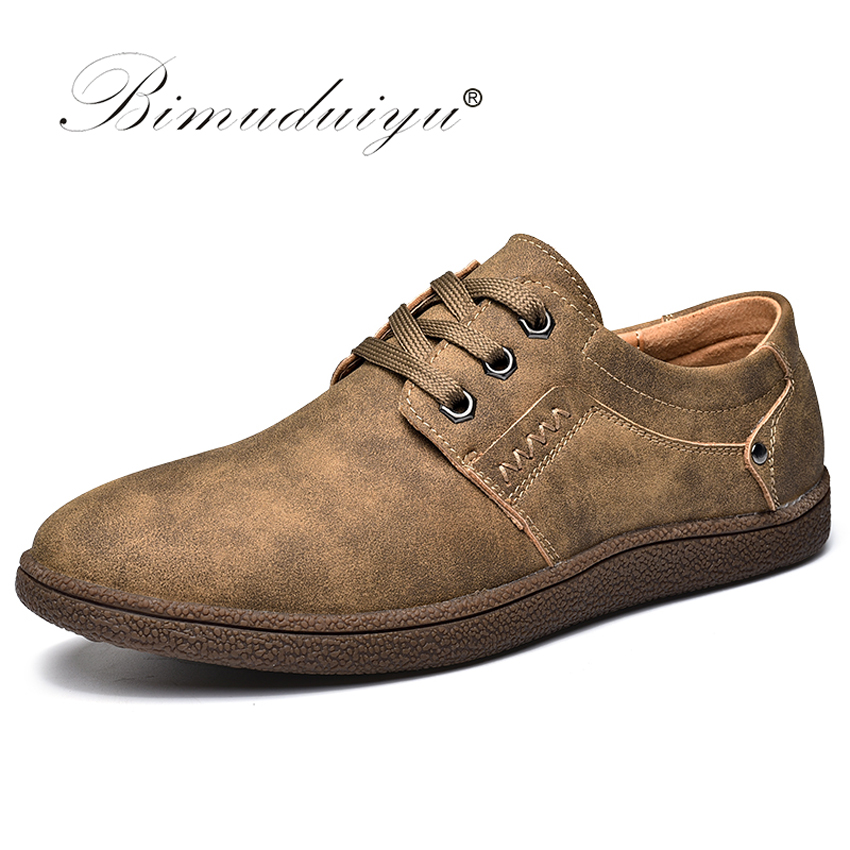 BIMUDUIYU England Casual Shoes Men Quality Pu Leather Flats Shoes Comfortable Fashion Walking Footwear Breathable Men Sneakers male casual shoes soft footwear classic men working shoes flats good quality outdoor walking shoes aa20135