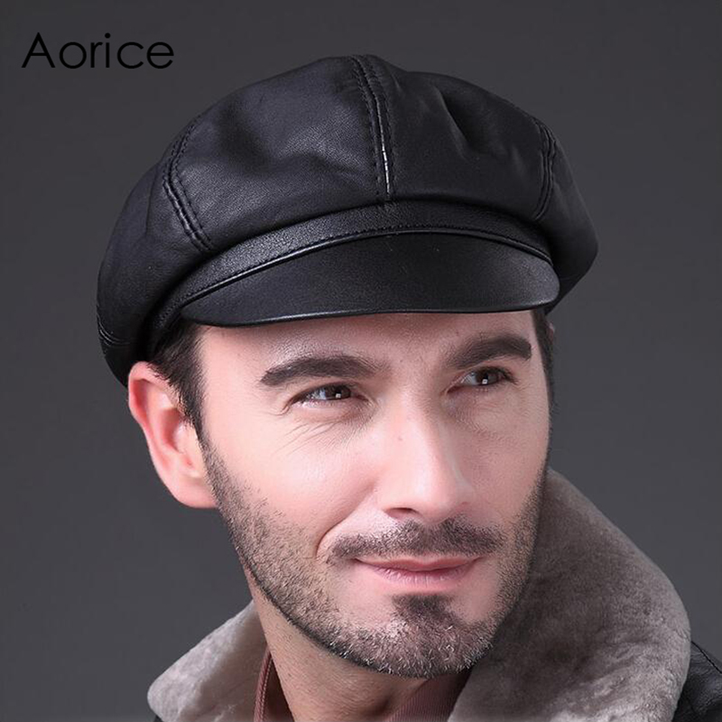 Aorice Genuine Soft Leather Driving Flat Cap 2017 Autumn Win