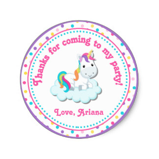 3 8cm unicorn birthday party favor tag sticker in stickers from home