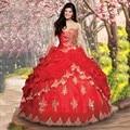 Vestidos De 15 Años Vestidos de Baile Querida Em Camadas Em Camadas vestido Masquerade Ouro Cristais Lace Applique Red Vestidos Quinceanera 2016